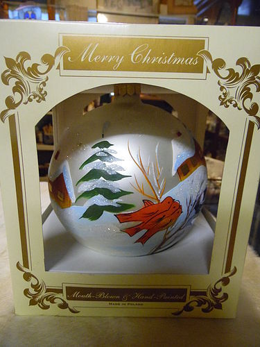 "Huge 6"" hand blown hand painted Christmas ornament ball Made in Poland"