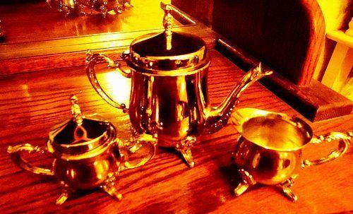 Godinger Silver plated Child's teapot creamer and sugar