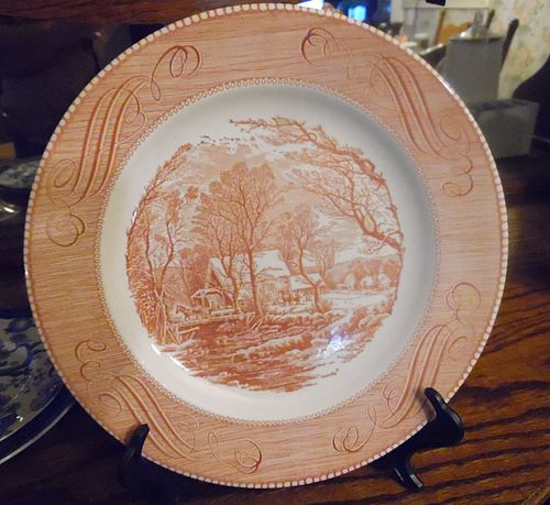 Currier and Ives The old grist mill pink red dinner plate 10""