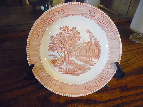 Currier and Ives Washington Birthplace salad plate  Royal China Pink