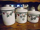 Crock Shop Apples and Ivy 3 pc canister set with lids