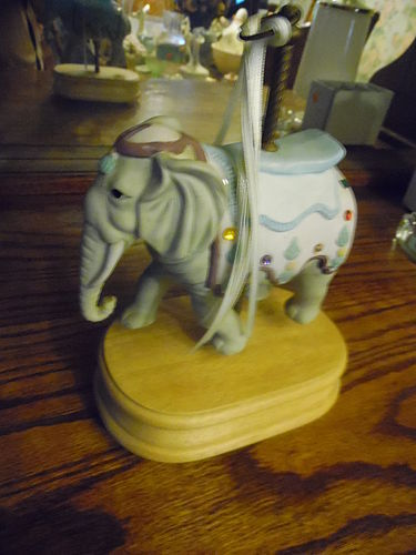 Musical carousel elephant with rhinestone embellishments