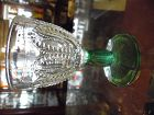 Vintage Avon Emerald Accents beaded crystal goblet green base