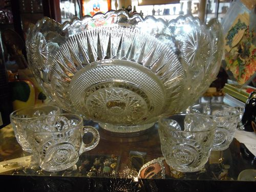 Vintage Slewed Horseshoe punch bowl with 14 cups by US Glass