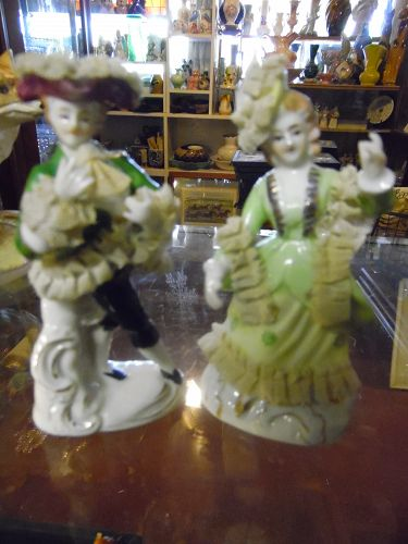 Vintage Wales Japan Victorian figurines with porcelain net lace 4.75""
