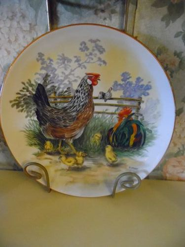 Bavaria JKW Germany Chicken family plate by H.Arndt