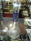 Hand blown bud vase black cobalt blue threading signed Flanagan