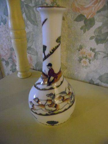 Crown Staffordshire Hunting scene bud vase