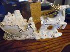 Mikasa Holiday Elegance porcelain Santa sleigh and reindeer