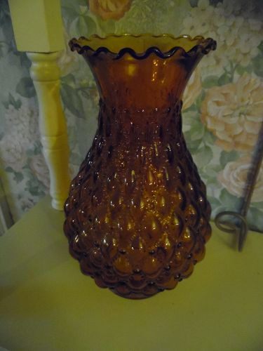 "Amber Diamond quilted lamp shade 9"" tall ruffle top 3"" fitter"