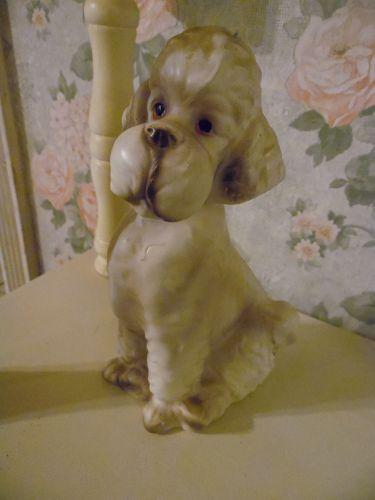"Vintage Ucagco ceramic poodle dog figurine 7.5"""