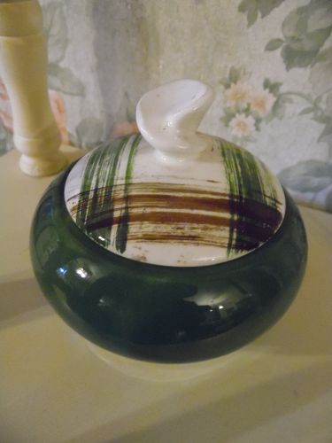 Stetson Scots Clain plaid covered sugar bowl