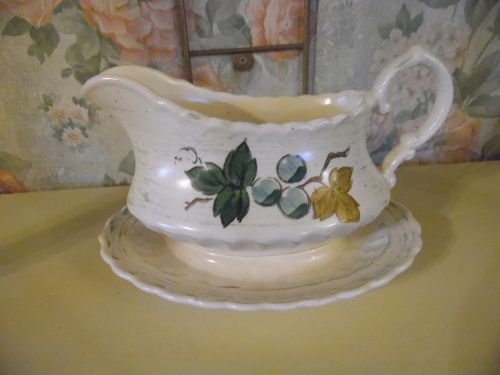 Metlox Vineyard gravy boat with attached underplate