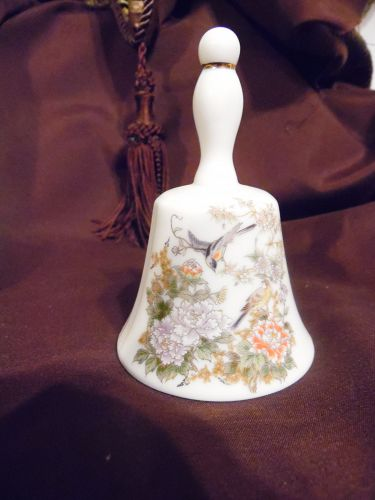 Bell Collectors Club porcelain bell Asian flowers birds by Marue Japan