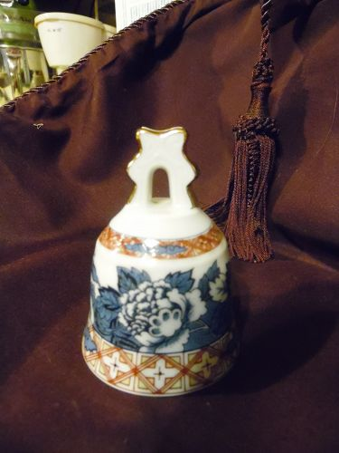 Old Kyoto by Sudo Japan  Asian floral porcelain bell Danbury Mint