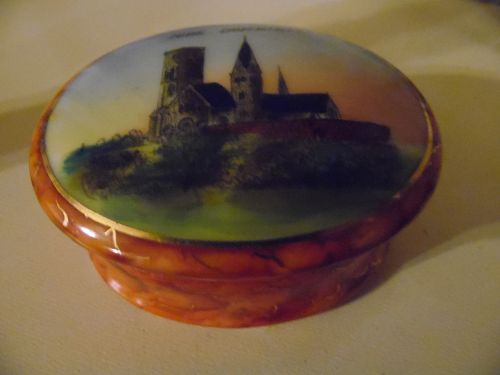 Antique Ribe Domkirke souvenir porcelain trinket box
