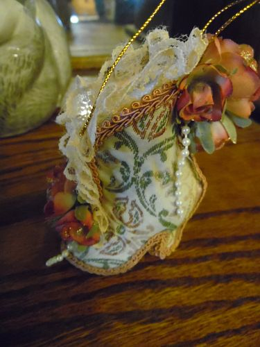 Victorian fabric covered shoe Christmas ornament