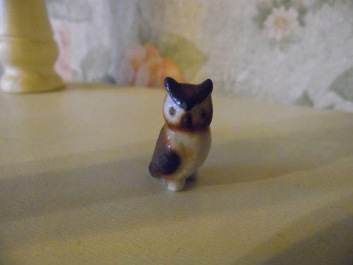 Miniature bone china owl figurine