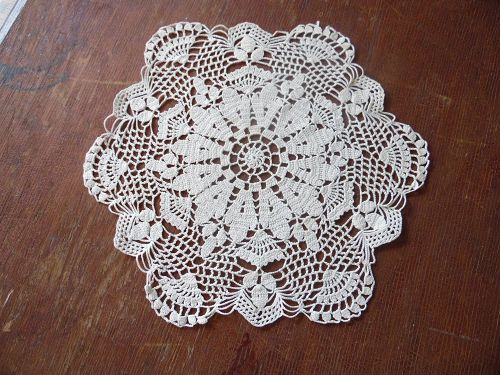 "Vintage 12"" hand crochet ecru doily acorns and fans"