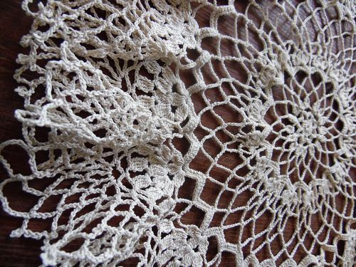 "Vintage hand crochet ruffled 14"" round doily ecru"