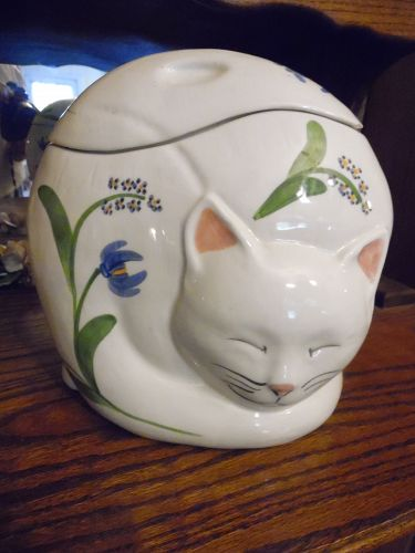 N.S. Gustin Sleeping cat cookie jar with florals