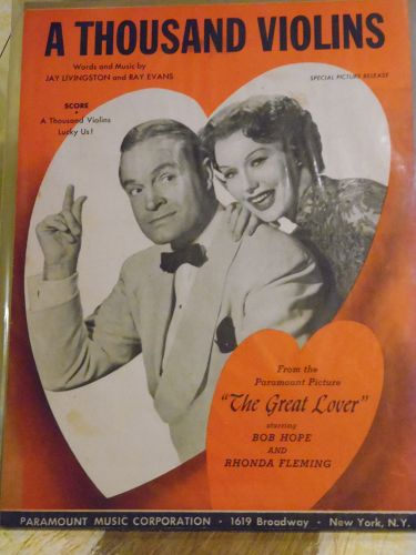 A thousand Violins sheet music 1949 Bob Hope and Rhonda Fleming