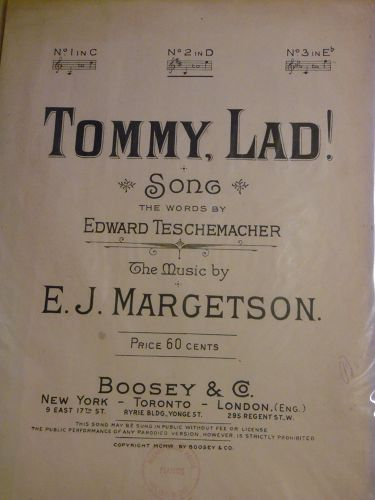Tommy Lad vintage sheet music