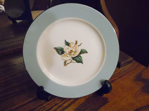 Lifetime bread butter plate turquoise border magnolia center 6.25""