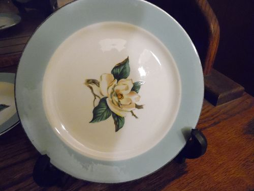 Lifetime china turquoise border magnolia center salad plate
