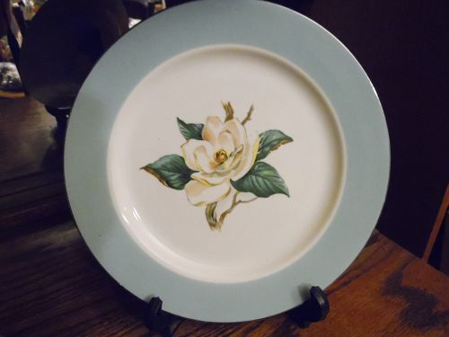 Lifetime China turquoise border magnolia center dinner plate 10""