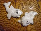 Adorable vintage ceramic fish bathroom wall decor