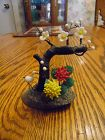 Small vintage flowering bonsai with glass flowers and crane Japan