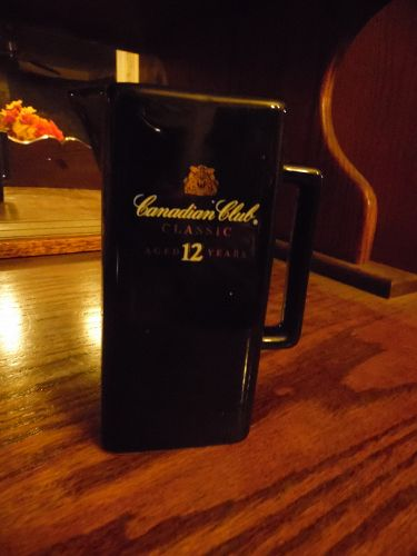 intage Canadian Club Classic Black advertising logo Pitcher