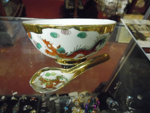 FS Louie & Co large bowl and spoon Asian dragon and phoenix Hong Kong