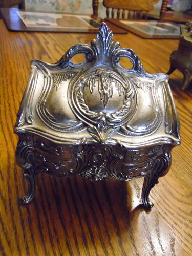 Large ornate silver plated trinket box velvet lined