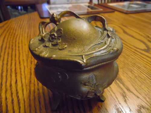 Antique spelter jewelry casket trinket box Art Noveau