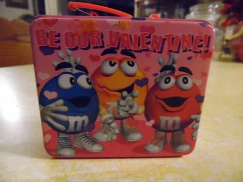 Be our Valentine M&Ms mini metal lunch box candy tin