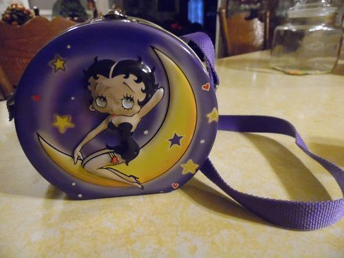 Betty Boop  n Pudgy Metal Tin Purse Case Lunch Box with Strap Carrier
