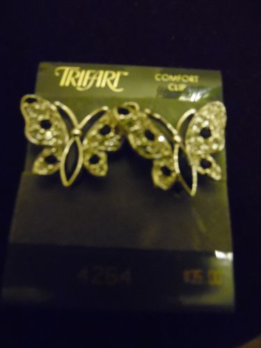 Trifari rhinestone butterfly comfort clip earrings never worn