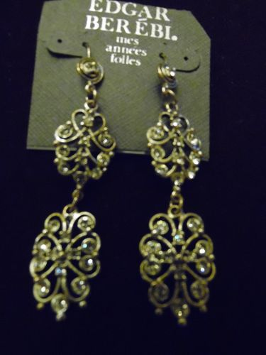 Edgar Berebi Victorian style rhinestone runway earrings, original card