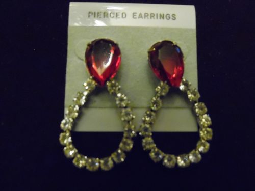 Large sparkly rhinestone loop earrings with ruby marquis 2""