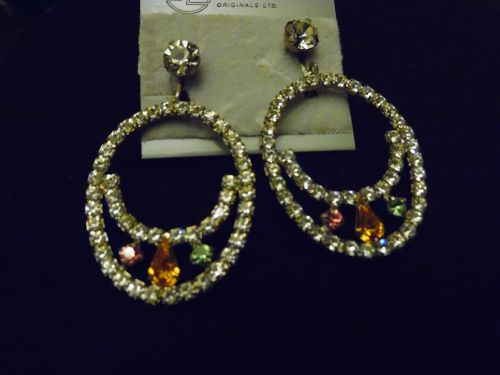 Jewelmark Original large rhinestone loop earrings