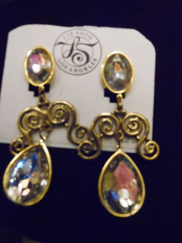 Liz Soto Los Angeles Antiqued gold large rhinestone dangle earrings