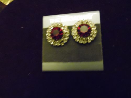 The Broadway Ruby red and rhinestone  post back button  earrings