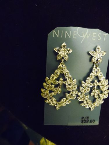 Large 2 inch dangle rhinestone earrings silver tone setting Nine West
