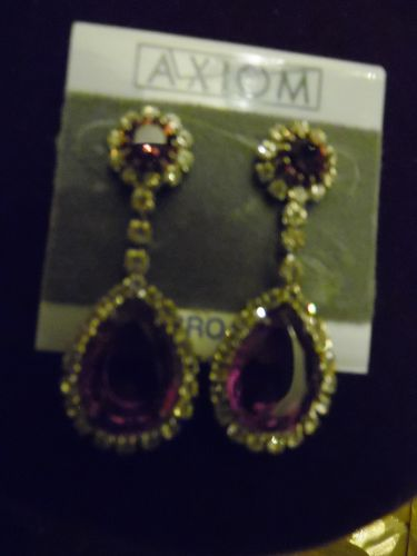 Axiom Rhinestone dangle earrings with orchid color stones