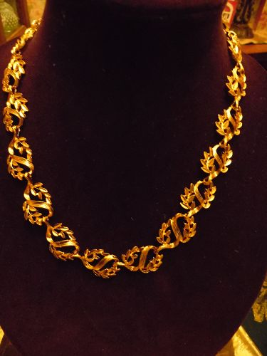 Napier gold tone leaves choker necklace 24""