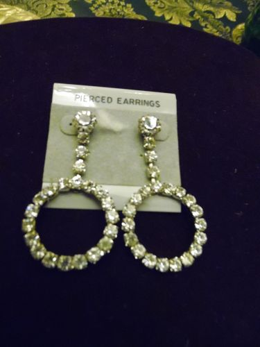 Lovely rhinestone dangle loop pierced earrings on card 2 3/8 long