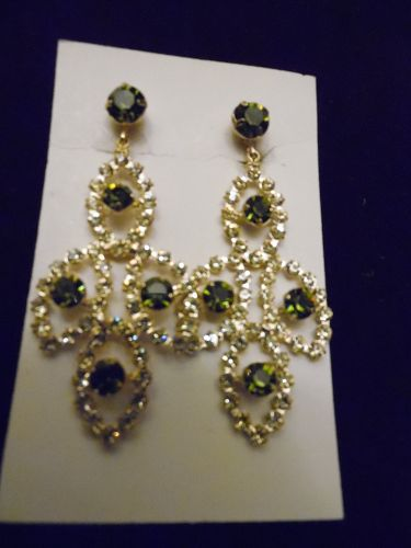 Large 3 inch rhinestone runway earrings clear and olive green stones