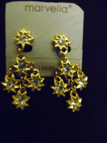 Marvella cascading flower stars dangle earrings new on card